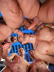 Cock-hungry gay pornstar Troy Daniels servicing group of guys