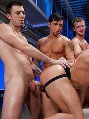 Group of guys fucks cock-hungry Marc Dylan