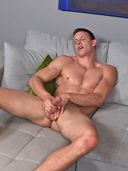 Straight guy Jay oiling his cock and stroking it