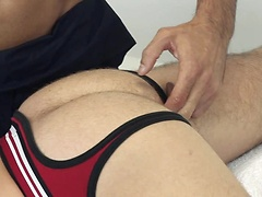 Super top masseur Issac Jones with hairy muscle-cub Ben Brown