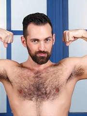 Posing and flexing for us, young muscle pup Rich shows off his growing muscles and big hairy legs