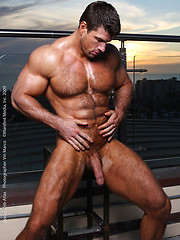 Muscule men Zeb shows his hairy chest and big cock