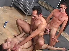 Super hot Latino Diego Cruz is the plaything for three hung tops who take turns fucking his mouth and ass. Diego ...