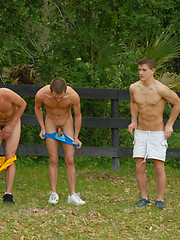 Outdoor exercising in a twink camp