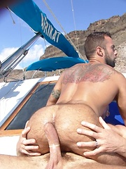 Buff hunk Trojan Rock lends his cock to give Steve Cruz a ride he will never forget.