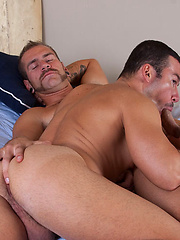 Christian teases Dominiks tight hole with his long tongue and fingers
