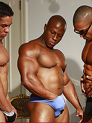 Group of naked straight bodybuilder posing