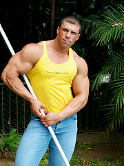 Bodybuilder Bruno Formansky from Warsaw showing his muscles