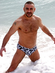 Hunky dad Manu showing his furry body