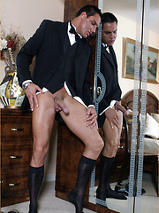 Gay hunk Marcello takes off his office suit for stroking