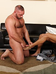 Furry dad Samuel Colt playing with younger ass
