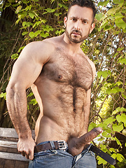 Masculine, hairy and beefy Adam Champ solo posing