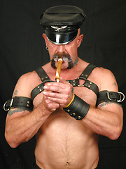 Daddy touch his cock over the leather jock strap