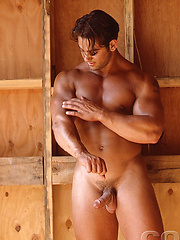 Muscled man posing naked